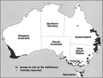 Selenium deficient areas in Australia